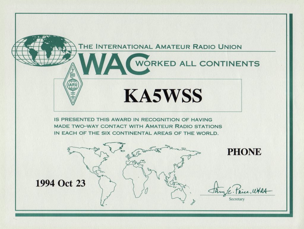 Older version of the Worked All Continents (WAC) certificate